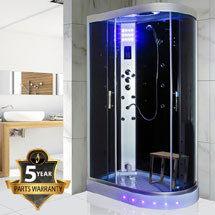 Insignia - 1200mm Steam Shower Cabin with Black Backwalls - GT5000B Medium Image