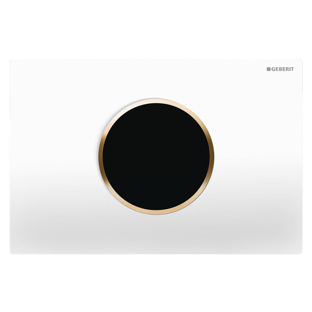Geberit Sigma10 White + Gold Touchless Automatic Flush for UP320 Cistern