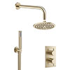Crosswater MPRO Brushed Brass 2 Outlet 2-Handle Shower Bundle profile small image view 1