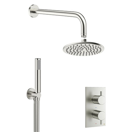 Crosswater MPRO Brushed Stainless Steel Effect 2 Outlet 2-Handle Shower Bundle