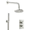 Crosswater MPRO Brushed Stainless Steel Effect 2 Outlet 2-Handle Shower Bundle profile small image view 1