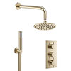 Crosswater MPRO Brushed Brass 2 Outlet 3-Handle Shower Bundle profile small image view 1