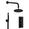 Crosswater MPRO Matt Black 2 Outlet 3-Handle Shower Bundle profile small image view 1