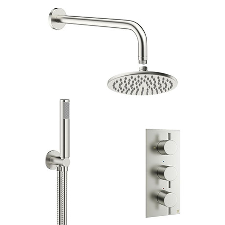 Crosswater MPRO Brushed Stainless Steel Effect 2 Outlet 3-Handle Shower Bundle