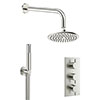 Crosswater MPRO Brushed Stainless Steel Effect 2 Outlet 3-Handle Shower Bundle profile small image view 1