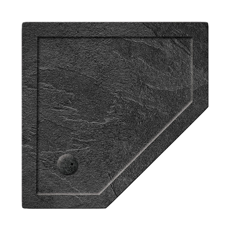 Simpsons Pentagon 35mm Grey Slate Acrylic Shower Tray with Waste - Various Size Options profile large image view 1