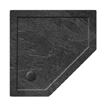 Simpsons Pentagon 35mm Grey Slate Acrylic Shower Tray with Waste - Various Size Options Medium Image