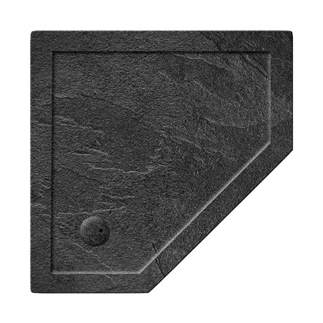 Simpsons Pentagon 35mm Grey Slate Acrylic Shower Tray with Waste - Various Size Options