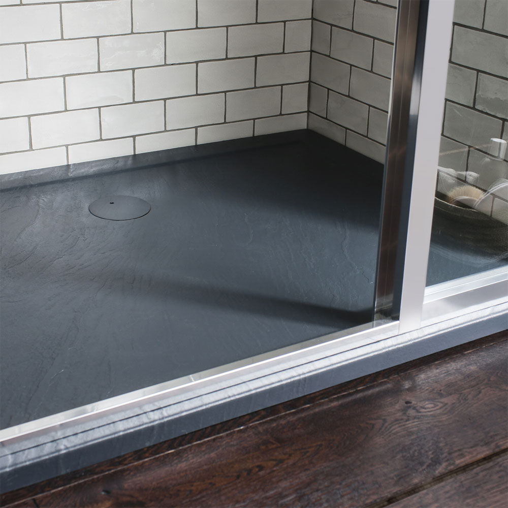 Simpsons Walk In 35mm Grey Slate Acrylic Shower Tray with Drying Area & Waste - Various Size Options profile large image view 2