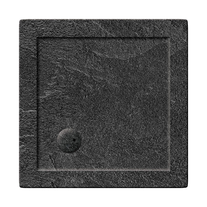 Simpsons Square 35mm Grey Slate Acrylic Shower Tray with Waste - Various Size Options Large Image