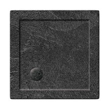 Simpsons Square 35mm Grey Slate Acrylic Shower Tray with Waste - Various Size Options Medium Image