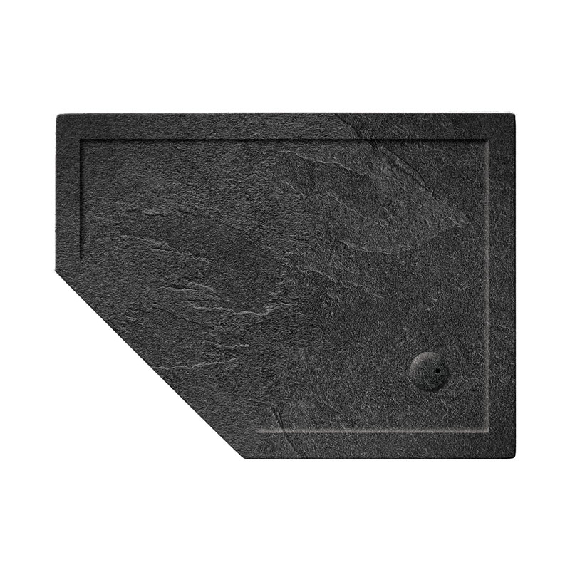 Simpsons Offset Pentangle 35mm Grey Slate Acrylic Shower Tray with Waste - Left Hand - Various Size Options Large Image