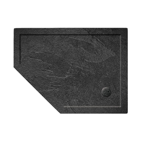Simpsons Offset Pentangle 35mm Grey Slate Acrylic Shower Tray with Waste - Left Hand - Various Size Options