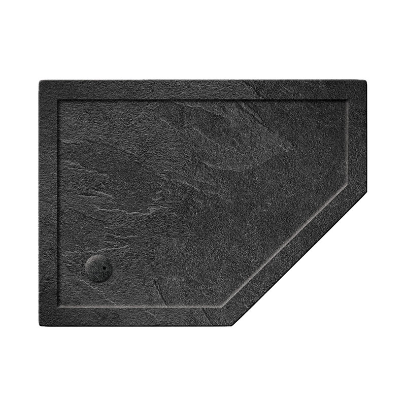 Simpsons Offset Pentangle 35mm Grey Slate Acrylic Shower Tray with Waste - Right Hand - Various Size Options profile large image view 1