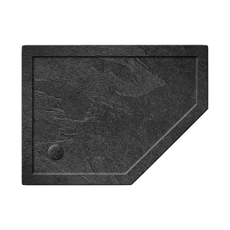 Simpsons Offset Pentangle 35mm Grey Slate Acrylic Shower Tray with Waste - Right Hand - Various Size