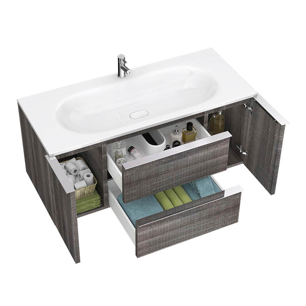 Galloway Wall Hung Vanity Unit (Driftwood - 1200mm Wide) profile large image view 3