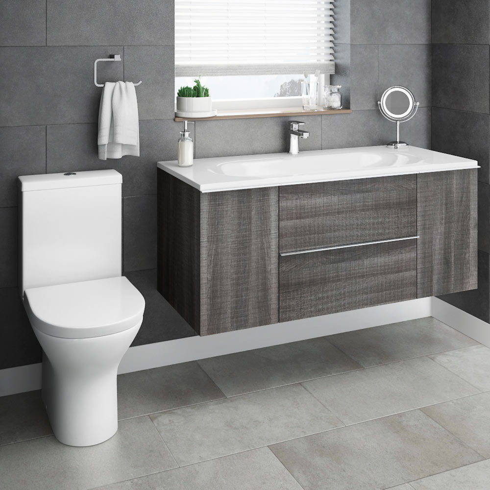 Galloway Wall Hung Vanity Unit (Driftwood - 1200mm Wide) profile large image view 4