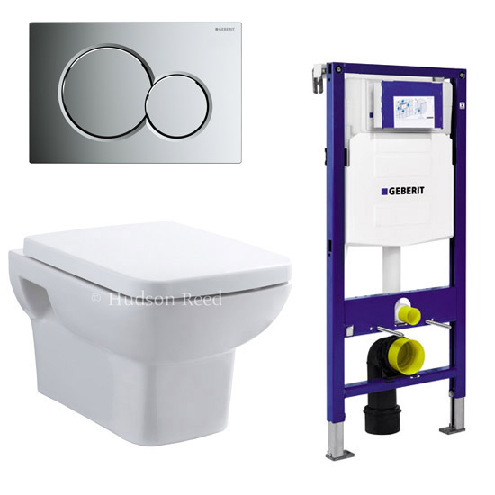 Geberit Duofix Wall Frame with Wall Hung Pan & Sigma 01 Flush Plate Large Image