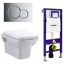 Geberit Duofix Wall Frame with Wall Hung Pan & Sigma 01 Flush Plate Medium Image
