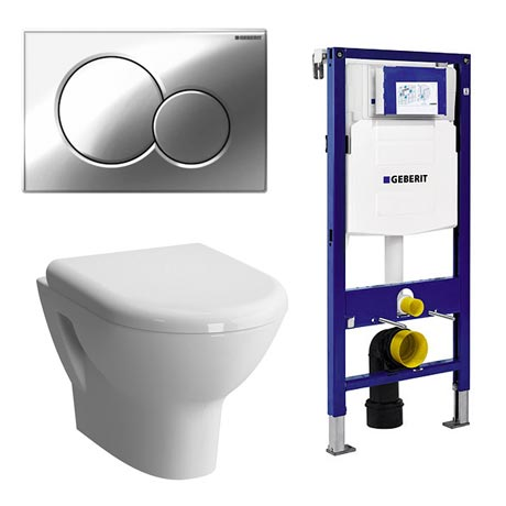 Geberit Duofix Wall Frame with Zentrum Wall Hung Pan & Sigma 01 Flush Plate