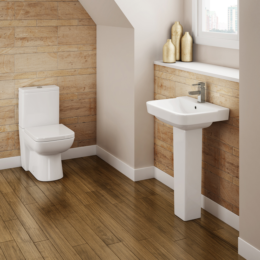 Genova Modern Basin with Pedestal (550mm Wide - 1 Tap Hole) profile large image view 2