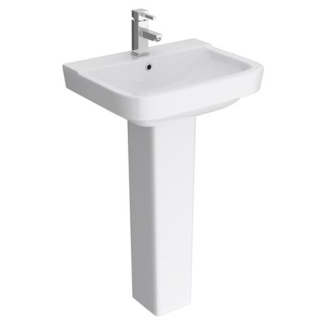 Genova Modern Basin with Pedestal (550mm Wide - 1 Tap Hole)