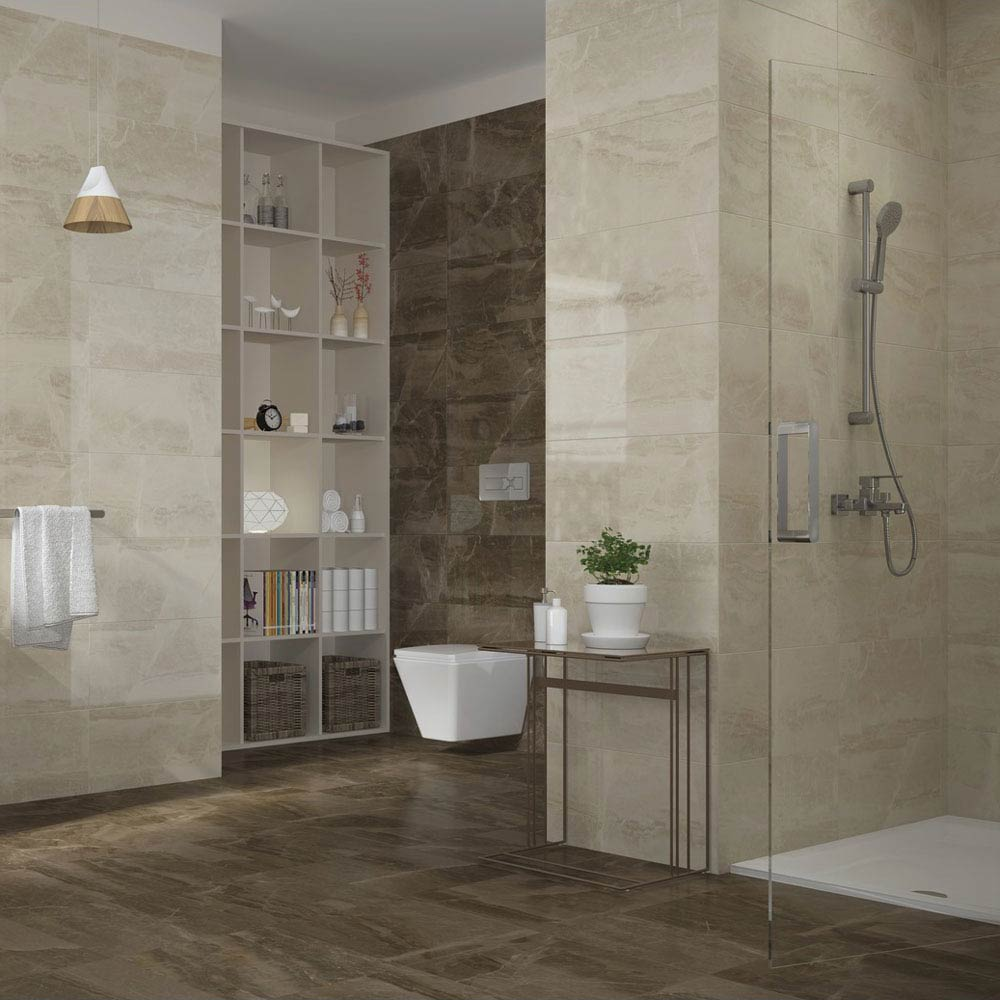 Gio Brown Gloss Marble Effect Wall Tiles - 30 x 60cm  Profile Large Image
