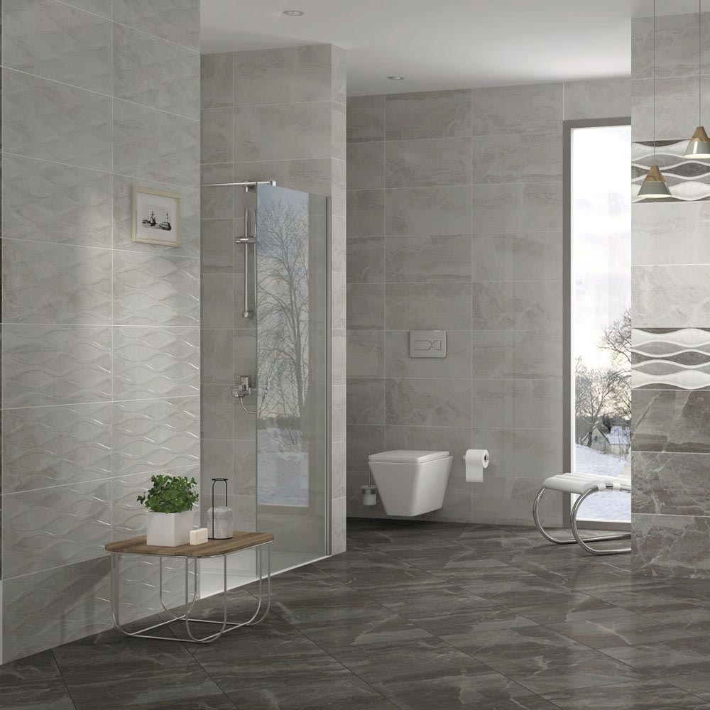 Gio Bone Gloss Marble Effect Decor Wall Tiles - 30 x 60cm  Profile Large Image
