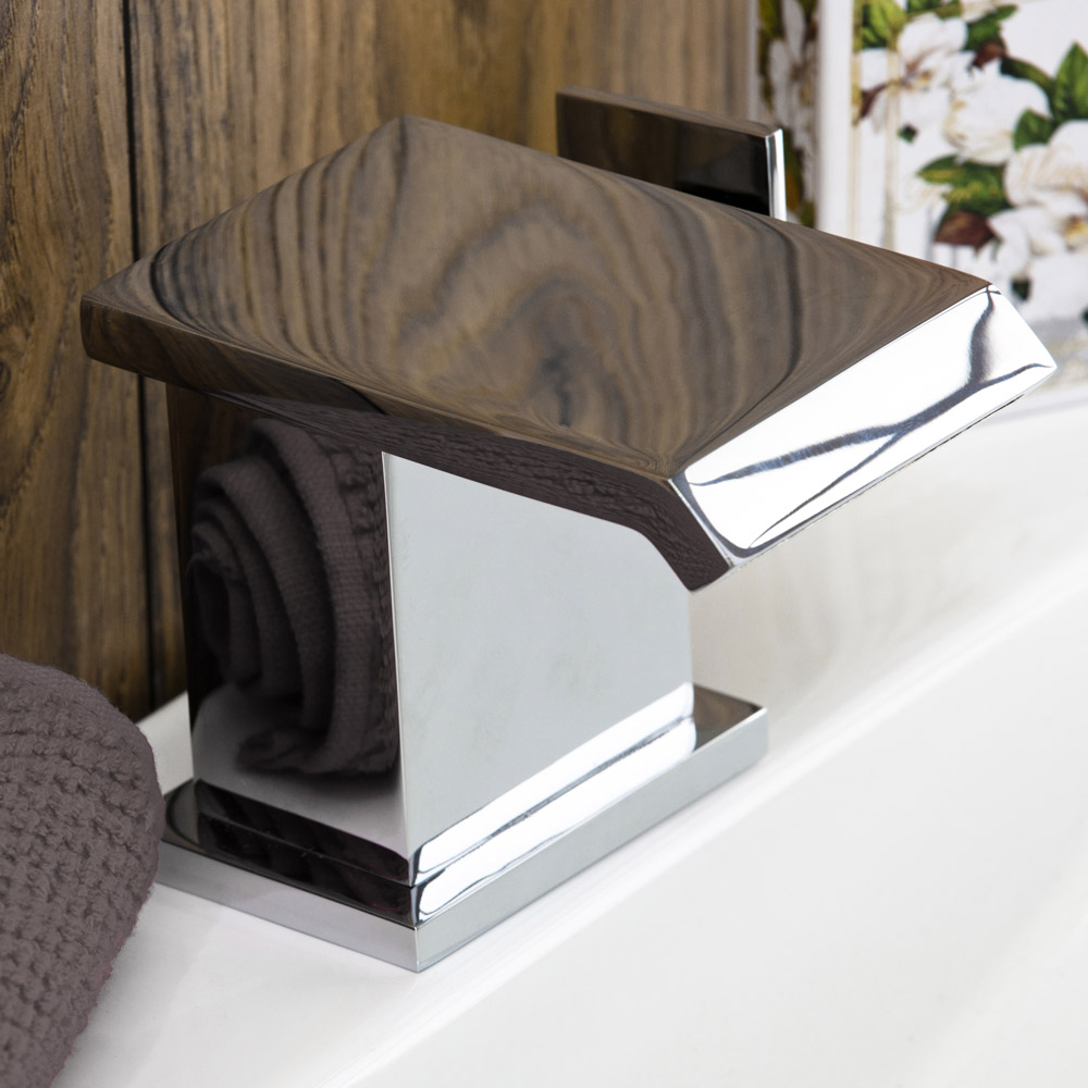 Glacier Waterfall Mono Basin Mixer Tap + Click Clack Waste - Close up image of a gorgeous warefall basin tap