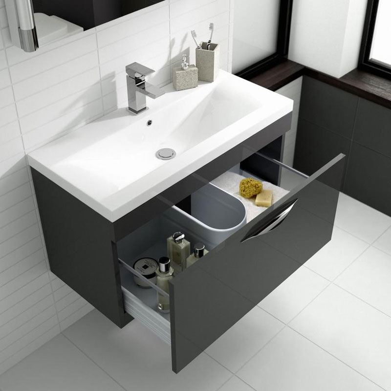 Hudson Reed Memoir Compact 500mm 1 Drawer Wall Mounted Basin & Cabinet - Gloss Grey - FME036 profile large image view 2