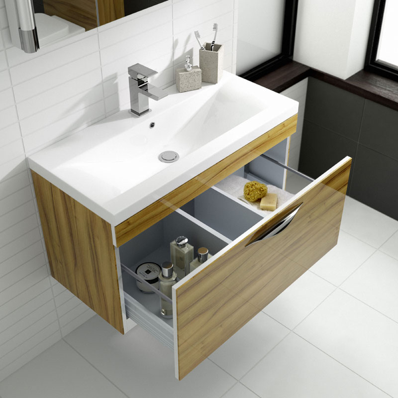 Hudson Reed Memoir Compact 500mm 1 Drawer Wall Mounted Basin & Cabinet - Gloss Walnut - FME039 profile large image view 2