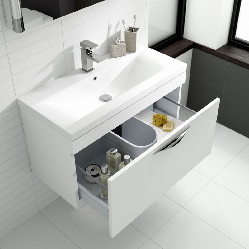 Hudson Reed Memoir Compact 500mm 1 Drawer Wall Mounted Basin & Cabinet - Gloss White - FME037 profile large image view 2