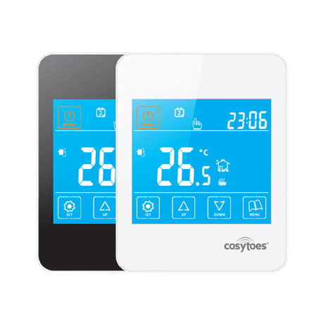 Cosytoes - Gloss Touchscreen Timerstat for Underfloor Heating - Available in Black & White