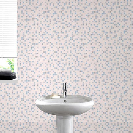 Graham & Brown - Blue Checker Bathroom Wallpaper - 18091