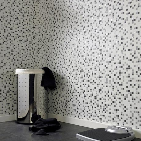 Graham & Brown - Black Checker Bathroom Wallpaper - 19167