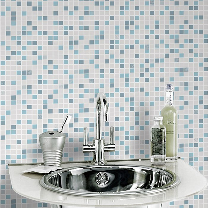 Graham & Brown - Checker Blue/White Bathroom Wallpaper - 20-506 profile large image view 1