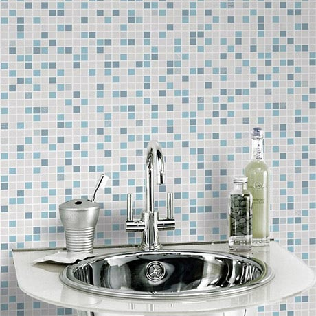Graham & Brown - Checker Blue/White Bathroom Wallpaper - 20-506
