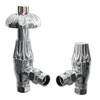 Granley Traditional Thermostatic Angled Radiator Valves - Polished Chrome profile small image view 1