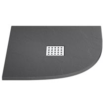 Imperia Graphite Slate Effect Quadrant Shower Tray 800 x 800mm Inc. Waste Medium Image