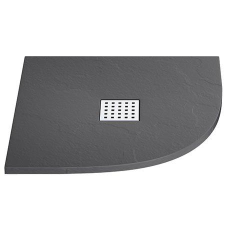 Imperia Graphite Slate Effect Quadrant Shower Tray 800 x 800mm Inc. Waste