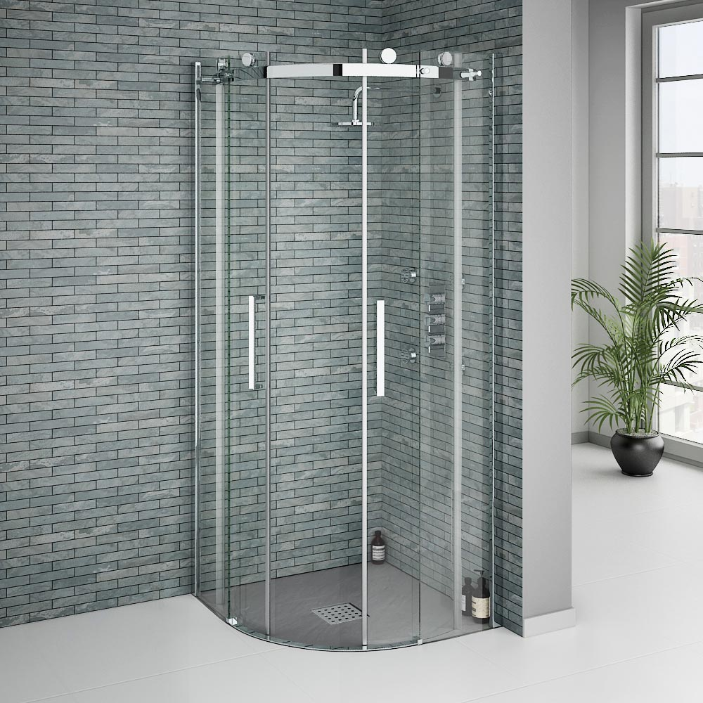 Imperia Graphite Slate Effect Quadrant Shower Tray 800 x 800mm Inc. Waste profile large image view 4