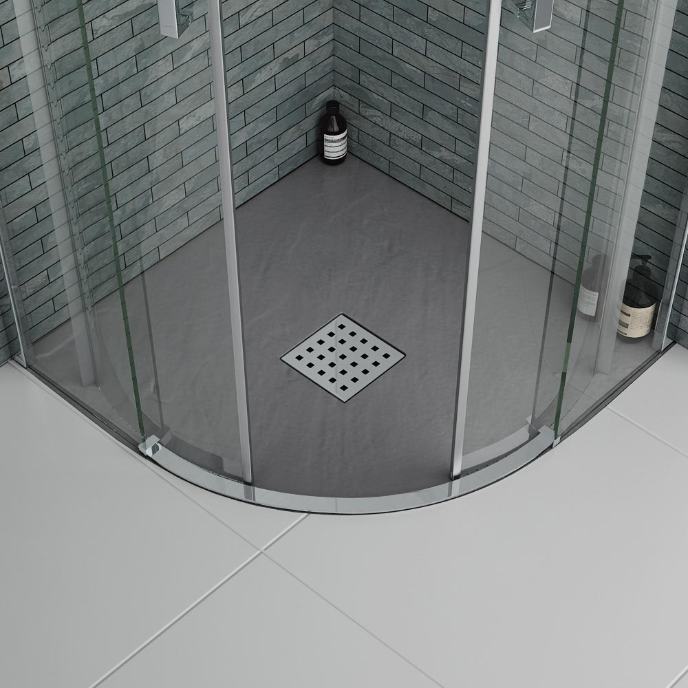 Imperia Graphite Slate Effect Quadrant Shower Tray 900 x 900mm Inc. Waste Feature Large Image