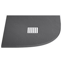 Imperia Graphite Slate Effect Quadrant Shower Tray 900 x 900mm Inc. Waste Medium Image
