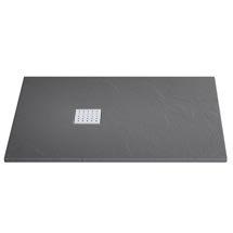 Imperia Graphite Slate Effect Rectangular Shower Tray 1200 x 800mm Inc. Waste Medium Image