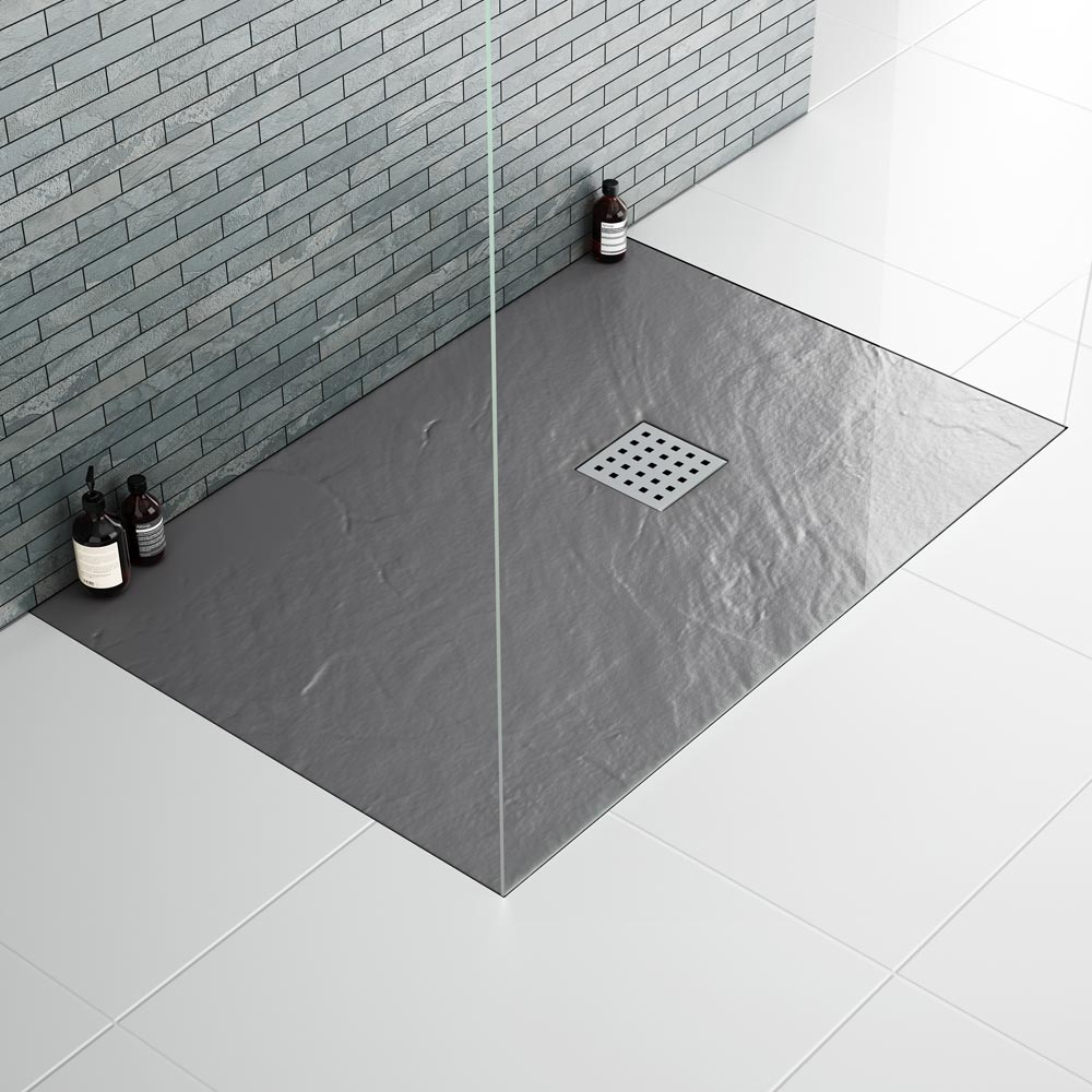 Imperia Graphite Slate Effect Rectangular Shower Tray 1200 x 900mm Inc. Waste profile large image view 3