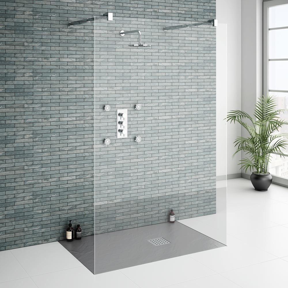 Imperia Graphite Slate Effect Rectangular Shower Tray 1200 x 900mm Inc. Waste profile large image view 4