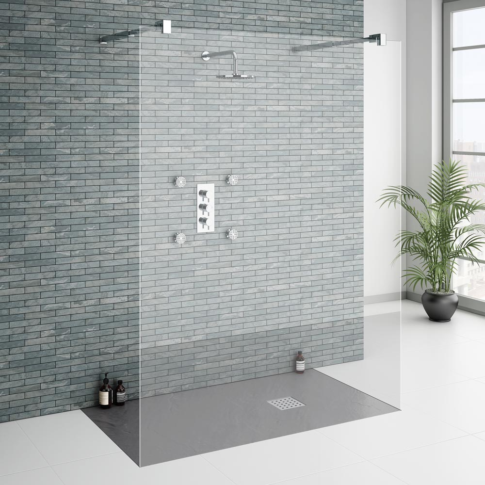 Imperia Graphite Slate Effect Rectangular Shower Tray 1400 x 800mm Inc. Waste profile large image view 4
