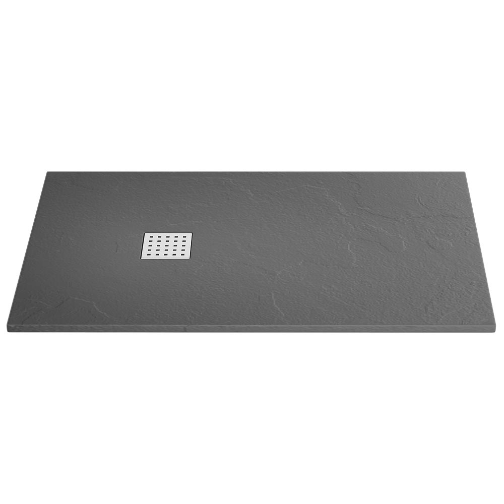 Imperia Graphite Slate Effect Rectangular Shower Tray 1400 x 800mm Inc. Waste profile large image view 1