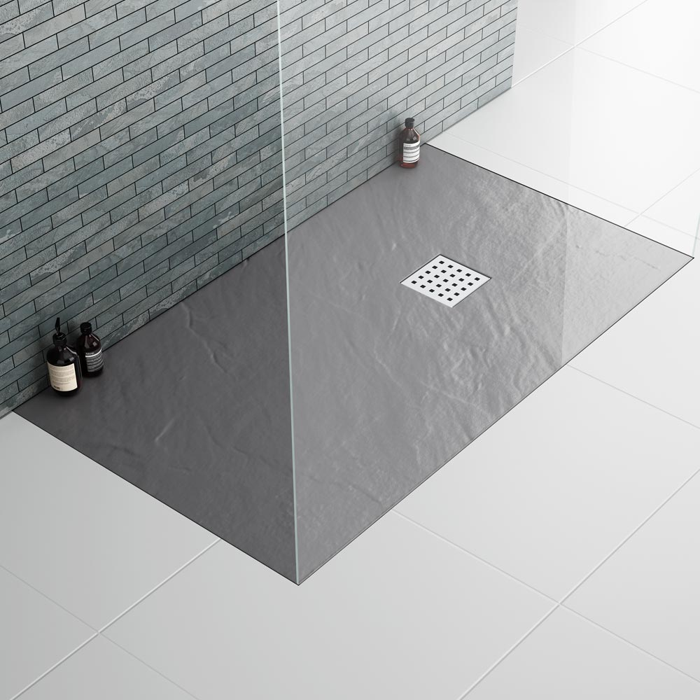 Imperia Graphite Slate Effect Rectangular Shower Tray 1600 x 900mm Inc. Waste Feature Large Image