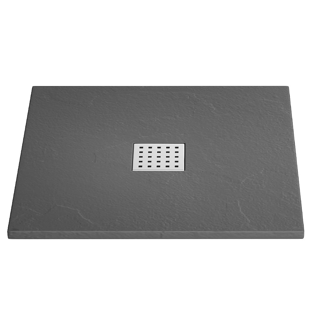 Imperia Graphite Slate Effect Square Shower Tray 800 x 800mm Inc. Waste Large Image